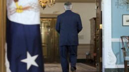 US Secretary of State Rex Tillerson leaves after delivering remarks at the State Department in Washington, DC, USA, 04 October 2017. Tillerson denied ever having considered resigning and that he fully supported President Trump's agenda. EPA, MICHAEL REYNOLDS