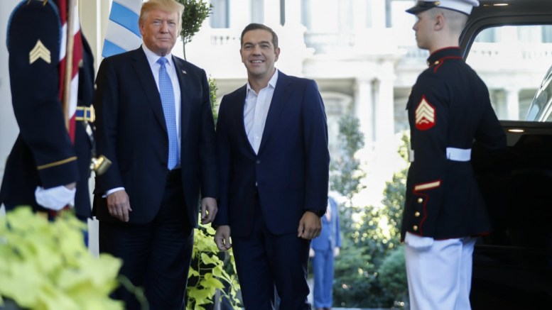 US President Donald J. Trump (L) greets Greek Prime Minister Alexis Tsipras (R) as he arrives at the White House in Washington, DC, USA, 17 October 2017. President Trump and Prime Minister Tsipras discussed economic and defense cooperation between the two countries. EPA, SHAWN THEW