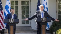 File Photo: US President Donald J. Trump (R) and Greek Prime Minister Alexis Tsipras (L) hold a joint press conference in the Rose Garden of the White House in Washington, DC, USA, 17 October 2017. EPA, JIM LO SCALZO