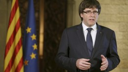 A handout photo made available by the Generalitat de Catalunya of Catalonian former President Carles Puigdemont giving a statement in Barcelona, Spain. EPA/RUBEN MORENO GARCIA / GENERALITAT DE CATALUNYA / HANDOUT HANDOUT EDITORIAL USE ONLY/NO SALES