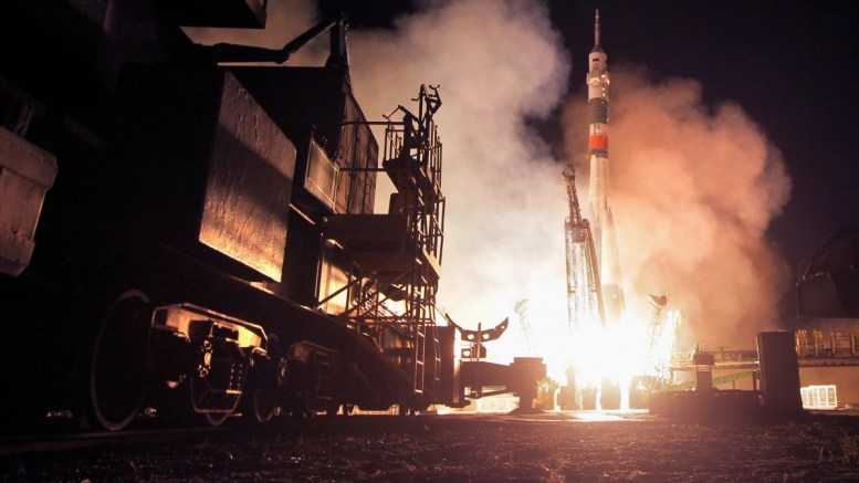 FILE PHOTO. The Russian Soyuz MS-06 lifts off from the launch pad at Baikonur Cosmodrome in Kazakhstan. EPA/MAXIM SHIPENKOV