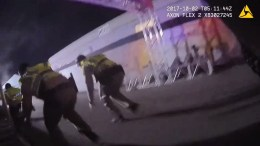 A frame grab taken from a bodycam video released by the Las Vegas Metropolitan Police Department (LVMPD) shows officers responding to the mass shooting at the Route 91 Harvest festival near Mandalay Bay hotel on Las Vegas Boulevard in Las Vegas, Nevada, USA, 01 October 2017. EPA/LAS VEGAS METROPOLITAN POLICE HANDOUT BEST QUALITY AVAILABLE HANDOUT EDITORIAL USE ONLY/NO SALES