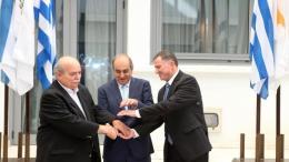 Οι πρόεδροι της ελληνικής, κυπριακής και ισραηλινής βουλής. Φωτογραφία ΚΥΠΕ.