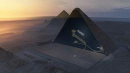 Ανακαλύφθηκε με τη βοήθεια της κοσμικής ακτινοβολίας ένα κρυφό μεγάλο κενό, άνω των 30 μέτρων, στο εσωτερικό της Μεγάλης Πυραμίδας του Χέοπα στην Αίγυπτο. AΠΕ-ΜΠΕ.