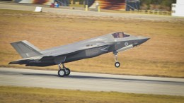 A handout photo made available by British Ministry of Defence (MOD) showing a F-35B Lightning II landing at the US Marine Corps Air Station Beaufort, South Carolina, USA, 14 December 2017, (issued 18 December 2017). The MOD states that Britain has taken delivery of its 14th F-35B Lightning II which flew into Beaufort, South Carolina to take its place as part of the Lightning Fleet, set to operate from Queen Elizabeth class aircraft carriers and RAF Marham, eastern England. EPA, Cpl. Benjamin McDonald, BRITISH MINISTRY OF DEFENCE HANDOUT, MOD: CROWN COPYRIGHT