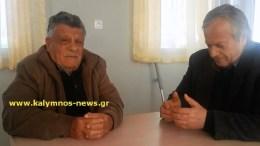 Ο βοσκός των Ιμίων Αντώνης Βεζυρόπουλος, μαζί με τον πρώην Δήμαρχο Καλυμνίων, Δημήτρη Διακομιχάλη. Φωτογραφία kalymnos-news.gr