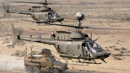 OH-58 Kiowa filmed during a training mission over a training field. Photo via YouTube