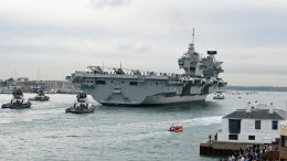 FILE PHOTO. The British Royal Navy's new flagship, the three billon British Pounds aircraft carrier 'HMS Queen Elizabeth'. EPA/GERRY PENNY