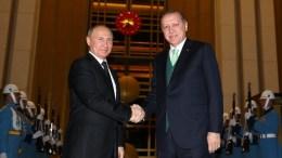 Οι πρόεδροι Ρωσίας και Τουρκίας Πούτιν και Ερντογάν, αντίστοιχα. Φωτογραφία Τουρκική Προεδρία.