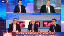 """Ο υπουργός Εξωτερικών Νίκος Κοτζιάς στην εκπομπή """"επόμενη μέρα"""" της ΕΡΤ. Φωτογραφία via ERT"""