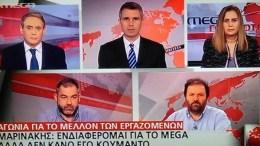 Ο Αντώνης Φουρλής, Ο Ιορδάνης  Χασαπόπουλος και οι πρόεδροι των Ενώσεων, Δημοσιογράφων Μαρία Αντωνιάδου, Τεχνικών Γιώργος Σκεπεντζάκης , και Περιοδικου Τύπου Θέμης Μπερεδήμας , ενημερώνουν για  τα αποτεέσματα  της συνάντησης με τον Βαγγέλη Μαρινάκη