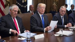 File Photo: U.S. President Donald J. Trump (C) speaks to the media during a Cabinet meeting at The White House in Washington, DC, USA, alongside former Secretary of State Rex Tillerson (L) and US Defense Secretary James Mattis (R). EPA, Chris Kleponis / POOL