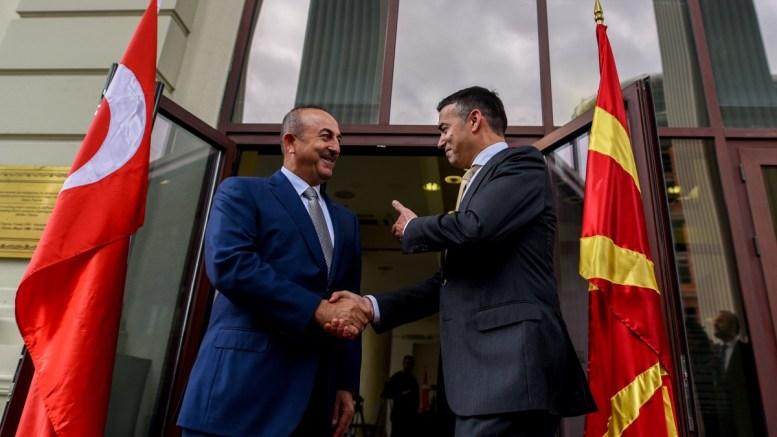 FILE PHOTO: Minister of Foreign Affairs of the Republic of Turkey, Mevlut Cavusoglu (L) shake hands with his Fyromian counterpart Nikola Dimitrov outside the Ministry of Foreign Affairs, in Skopje, The FYROM. EPA, TOMISLAV GEORGIEV POL