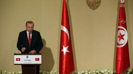 FILE PHOTO: Turkey's President Tayyip Erdogan speaks during a press conference at the Presidential Carthage Palace in Tunis, Tunisia, 27 December 2017. EPA, MOHAMED MESSARA