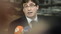 Former Catalan President Carles Puigdemont attends a press conference after a meeting with Danish members of the Parliament, invited by the Faroese parliamentary member Magni Arge at Christiansborg in Copenhagen, Denamrk, 23 January 2018. EPA/MADS CLAUS RASMUSSEN DENMARK OUT