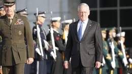 US Secretary of Defense James Mattis (R) attends a welcoming ceremony at the headquarters of the Defense Ministry in Seoul, South Korea. FILE PHOTO. EPA/JEON HEON-KYUN