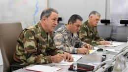Turkish Chief of Staff General Hulusi Akar (L), Turkish Air Forces Commander Hasan Kucukakyuz (C) and Turkish Chief General Umit Dundar (R), during a press conference on planned operation to Syria's Afrin district in Ankara, Turkey, 20 January 2018. EPA, TURKISH ARMED FORCES HANDOUT, EDITORIAL USE ONLY