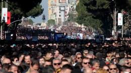 File Photo: Albanian protesters shout anti-government slogans in front of the government building in Tirana, Albania. EPA, MALTON DIBRA