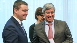 Bulgaria's Finance Minister Vladislav Goranov (L) and ThePresident of the Eurogroup , Portuguese Finance Minister Mario Centeno during a macroeconomic dialogue on the sidelines of the Economic and Financial Affairs Council (ECOFIN). EPA, STEPHANIE LECOCQ
