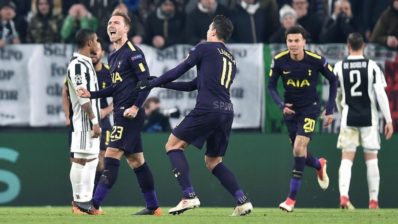 Tottenham's Christian Eriksen (2-L) celebrates scoring during the UEFA Champions League round of 16 first leg soccer match between Juventus FC and Tottenham Hotspur at the Allianz Stadium in Turin, Italy, 13 February 2018. EPA, ALESSANDRO DI MARCO