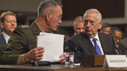 Defense Secretary James N. Mattis and Marine Corps Gen. Joseph F. Dunford Jr., chairman of the Joint Chiefs of Staff, provide testimony to members of the Senate Armed Services Committee in Washington D.C. DoD photo by Army Sgt. Amber I. Smith