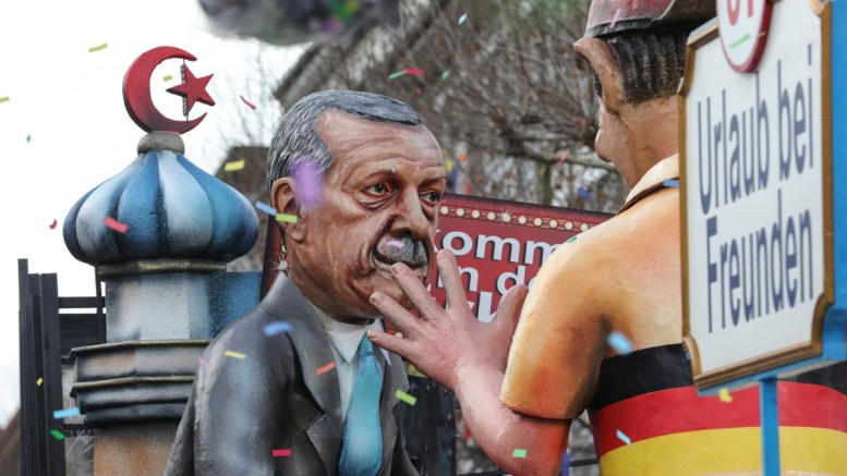 A float depicting Turkish President Erdogan is presented during the Rose Monday carnival parade in Mainz, Germany, 12 February 2018. EPA, ARMANDO BABANI