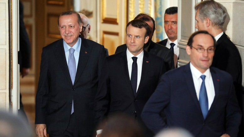 FILE PHOTO. French President Emmanuel Macron (R) and Turkish President Recep Tayyip Erdogan (L) arrive for a joint press conference at the Elysee Palace in Paris, France. EPA, LUDOVIC MARIN, POOL MAXPPP OUT