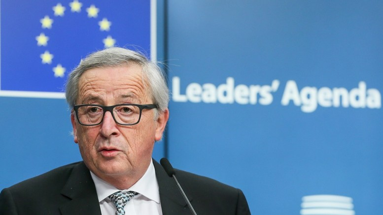 EU Commission President Jean-Claude Juncker give a statement to the media after the informal meeting of the 27 European Heads of States and Governments in Brussels, Belgium. EPA, STEPHANIE LECOCQ