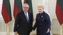 Lithuanian President Dalia Grybauskaite (R) and President of the European Commission Jean Claude Junker attend the celebration of the 100th anniversary of the restoration of the state of Lithuania in Vilnius, Lithuania, 16 February 2018. EPA, TOMS KALNINS, FILE PHOTO
