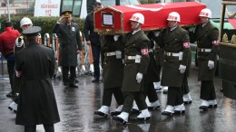 File Photo: Turkish soldiers carry the coffin of Koray Karaca, a Turkish soldier who was killed in a cross-border clashes with Kurdish Popular Protection Units (YPG) forces at Afrin, during a funeral ceremony in Istanbul, Turkey 11 February 2018. EPA, ERDEM SAHIN