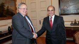 Ο υπουργός Εξωτερικών Νίκος Κοτζιάς συναντάται με τον πρόεδρο της Βουλής των Αντιπροσώπων της Κυπριακής Δημοκρατίας Δημήτρη Συλλούρη. FILE PHOTO, ΑΠΕ-ΜΠΕ, Παντελής Σαίτας