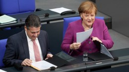 German Minister of Foreign Affairs Sigmar Gabriel of the Social Democratic Party (SPD) and German Chancellor Angela Merkel of the Christian Democratic Union (CDU) during a session of the German parliament 'Bundestag' in Berlin, Germany, 22 February 2018. EPA, HAYOUNG JEON