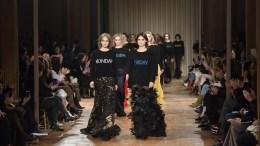 US model Gigi Hadid (L) presents a creation by Italian designer Alberta Ferretti during the Milan Fashion Week, in Milan, Italy.The Fall-Winter 2017/2018 Women's collections are presented at the Milano Moda Donna. File Photo. EPA, FLAVIO LO SCALZO