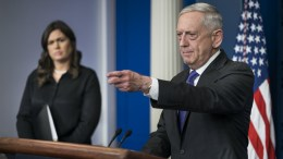 US Defense Secretary General James Mattis (R) speaks to the media from the Press Briefing Room of the White House in Washington, DC, USA, 07 February 2017. Mattis spoke about President Trump's desire for a military parade in Washington, DC. EPA, JIM LO SCALZO