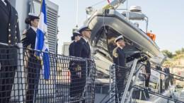 FILE PHOTO. Στιγμιότυπο από την τελετή ένταξης του πρώτου πλοίου ανοικτής θαλάσσης της Εθνικής Φρουράς. Σταύρος Κονιώτης, ΚΥΠΕ