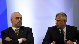 Albanian Prime Minister Edi Rama (L) speaks with Kosovo's President Hashim Thaci (R), during the forum of the Bulgarian Government and the World Bank for Regional Integration in the Balkans in Sofia. EPA, VASSIL DONEV