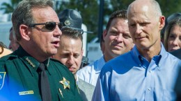 Sheriff Scott J. Israel (L) of Broward County and Governor of Florida Rick Scott (R) speak at a press conference on the outskirts of Marjory Stoneman Douglas High School, Parkland, Florida, USA, 15 February 2018. The governor updated the media on the aftermath of the deadly shooting at a high school that left 17 dead. EPA, GIORGIO VIERA
