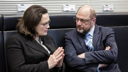 Leader of the Social Democratic Party (SPD) Martin Schulz (R) and Leader of the SPD parliamentary group Andrea Nahles (L). FILE PHOTO. EPA/TILL RIMMELE EPA-EFE/TILL RIMMELE