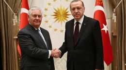 A handout photo made available by the Turkish Presidential Press Office shows Turkish President Recep Tayyip Erdogan (R) shaking hands with US Secretary of State Rex Tillerson (L) during their meeting in Ankara, Turkey, 15 February 2018. EPA, TURKISH PRESIDENTAL PRESS OFFICE HANDOUT, EDITORIAL USE ONLY