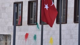 Paint on the wall of the Turkish Embassy in Berlin, Germany, 27 February 2018. According to the German police four people threw paint bombs, and a smoke bomb at the embassy during the early hours of 27 February 2018. EPA,MARKUS HEINE