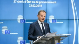 European Council President Donald Tusk gives a statement to the media after the informal meeting of the 27 European Heads of States and Governments in Brussels, Belgium, 23 February 2018. EPA, STEPHANIE LECOCQ