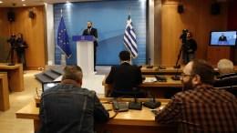 Ο υπουργός Επικρατείας και Κυβερνητικός Εκπρόσωπος Δημήτρης Τζανακόπουλος στην ενημέρωση των πολιτικών συντακτών στη ΓΓΕΕ. ΑΠΕ-ΜΠΕ, ΑΛΕΞΑΝΔΡΟΣ ΒΛΑΧΟΣ