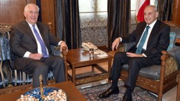 A handout photo made available by Lebanese Parliament Media office shows Lebanese parliament speaker Nabih Berri (R) meeting with US Secretary of State Rex Tillerson (L) at Berri's house in Beirut, Lebanon, 15 February 2018. Tillerson arrived in Beirut for a one-day official visit to meet with Lebanese officials. EPA, PARLIAMENT MEDIA OFFICE