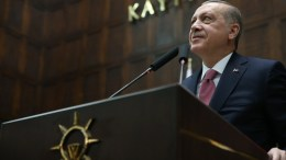 A handout photo made available by the Turkish Presidential Press Office shows Turkish President Recep Tayyip Erdogan addressing members of the ruling Justice and Development Party (AKP) at their group meeting at the parliament during a his group meeting in Ankara, Turkey, 20 February 2018. EPA, TURKISH PRESIDENTAL PRESS OFFICE , HANDOUT HANDOUT EDITORIAL USE ONLY