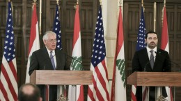 US Secretary of State Rex Tillerson (L) speaks during a joint press conference with Lebanese Prime Minister Saad Hariri (R) at the government palace in Beirut, Lebanon, 15 February 2018. Tillerson arrived in Beirut for a one-day official visit to meet with Lebanese officials. EPA, NABIL MOUNZER