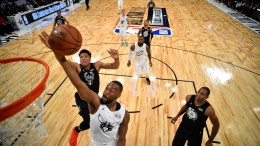 Kemba Walker (C) of Team Stephen goes to the basket as Giannis Antetokounmpo (L) of Team Lebron gives chase during the 2018 NBA All-Star game at Staples Center in Los Angeles, California , USA, 18 February 2018. EPA, BOB DONNAN, POOL SHUTTERSTOCK OUT