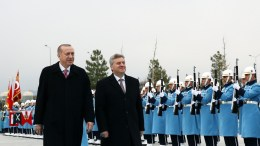 Turkish President Recep Tayyip Erdogan (L) and President of the FYROM, Gjorge Ivanov (R) review the guards of honor during a welcome ceromony in Ankara, Turkey, 20 February 2018. EPA, TURKISH PRESIDENTAL PRESS OFFICE HANDOUT, EDITORIAL USE ONLY