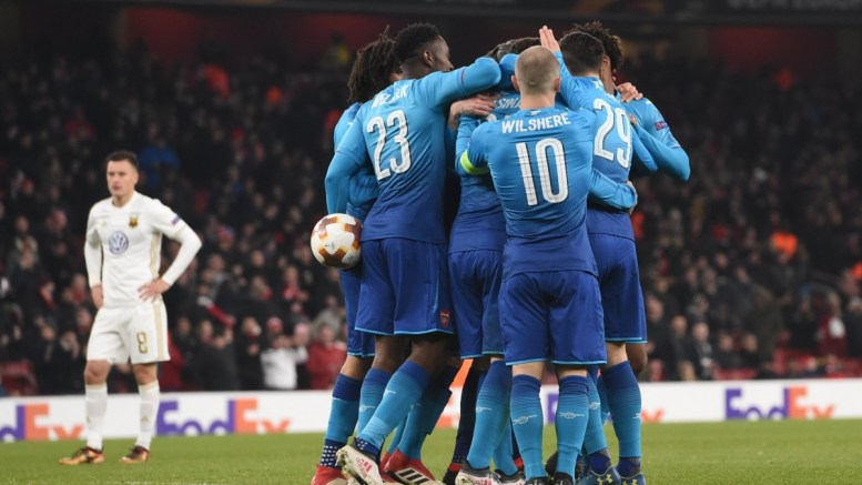Arsenal players celebrate a goal during the UEFA Europa League Round of 32, second leg match between Arsenal FC and Ostersunds FK at the Emirates Stadium in London, Britain, 22 February 2018. EPA, FACUNDO ARRIZABALAGA
