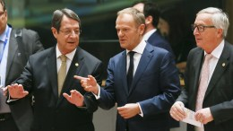 File Photo: Cypriot President Nicos Anastasiades, European Council President Donald Tusk and European Commission President Jean-Claude Juncker during the European Council meeting in Brussels, Belgium. EPA, OLIVIER HOSLET / POOL