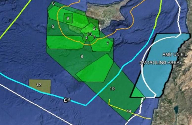 Ο χάρτης της κυπριακής ΑΟΖ.